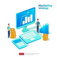 bedrijfsgroei en rendement op investering. digitaal marketingstrategieconcept met tafel, grafisch object op computerscherm. grafiek winst verhogen. banner vlakke stijl vectorillustratie vector