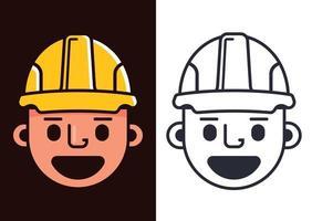 bouwer in een gele helm. schattige karakterbouwer. platte vectorillustratie vector
