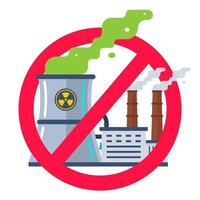verboden teken van kerncentrales. platte vectorillustratie