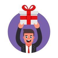 manager geeft een geschenk. viering op kantoor. platte karakter vectorillustratie.