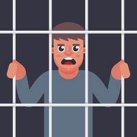mannelijke crimineel achter de tralies. man in de gevangenis. platte vectorillustratie. vector