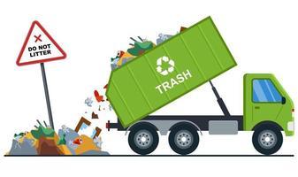 vrachtwagen gooit vuilnis op de verkeerde plaats. vervuiling van de natuur. platte vectorillustratie