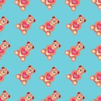 teddybeer met een hart. patroon vectorillustratie. liefdesverklaring. plat beeld vector