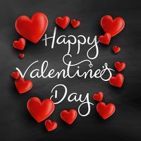 Valentijnsdag achtergrond met 3D-harten vector