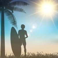 Surfer op een tropische achtergrond