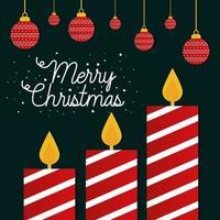 vrolijke Kerstmis gestreepte kaarsen met ornamenten die vectorontwerp hangen vector