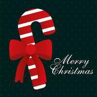 vrolijk kerstmissuikergoedriet met boog vectorontwerp vector