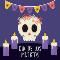 Mexicaanse dag van de dode schedel met bloemen en kaarsen vectorontwerp vector