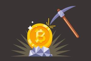 mijnbouw bitcoin met een houweel in de mijn. platte vectorillustratie.