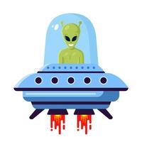 groene schattige alien in een ufo op een witte achtergrond. platte vectorillustratie vector