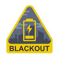 blackout teken op de achtergrond van een stad. de batterij is bijna leeg. platte vectorillustratie.
