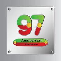 97 jaar jubileum vector sjabloon ontwerp illustratie