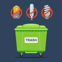 verboden afval dat niet in een gewone afvalcontainer mag worden gegooid. thermometers, batterijen en fluorescentielampen. platte vectorillustratie.