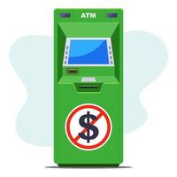 groene pinautomaat waar geen contant geld is. geldgebrek bij de pinautomaat. platte vectorillustratie.