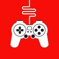 silhouet van een game-joystick met draad voor computerspellen. platte vectorillustratie.