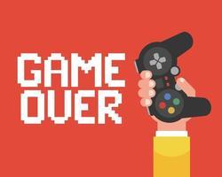 game over poster met een hand die de joystick vasthoudt. platte vectorillustratie. vector