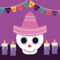 Mexicaanse dag van de dode schedel met sombrerohoed en kaarsen vectorontwerp vector