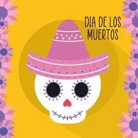 Mexicaanse dag van de dode schedel met sombrerohoed en bloemen vectorontwerp vector