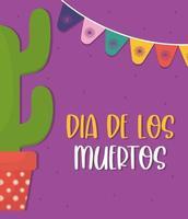 Mexicaanse dag van de dode cactus met wimpel vectorontwerp vector