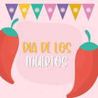 Mexicaanse dag van de dode pepers met wimpel vectorontwerp vector