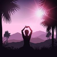 Yogavrouw in tropisch landschap