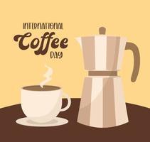internationale koffiedag met waterkoker en beker vector ontwerp