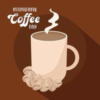 internationale koffiedag met hete mok en bonen vector ontwerp