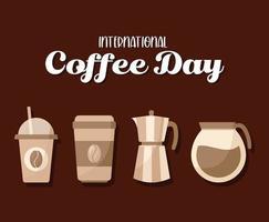 internationale koffiedag met pictogrammen vector