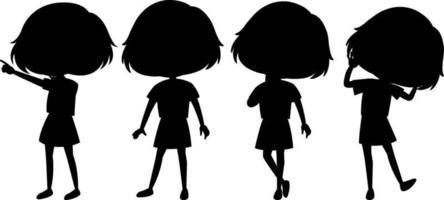 set van kinderen silhouet stripfiguur vector