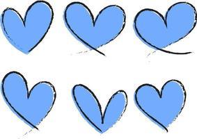 set van blauw hart hand getrokken geïsoleerd
