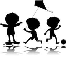 aantal kinderen silhouet met reflex op witte achtergrond