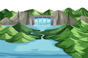 scène met water dam achtergrond