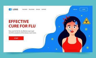 bestemmingspagina voor griep. het meisje is ziek van het virus. platte vector web karakter illustratie.