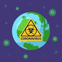 de planeet is ziek met een coronovirus. geel bord biologische wapens. platte vectorillustratie. vector