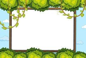leeg bord op hemelachtergrond met bladerenelement