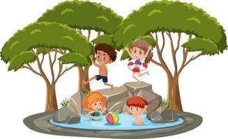 geïsoleerde scène met spelende kinderen bij de vijver vector