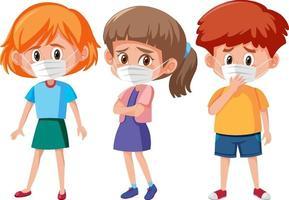 set van verschillende kinderen dragen masker stripfiguur
