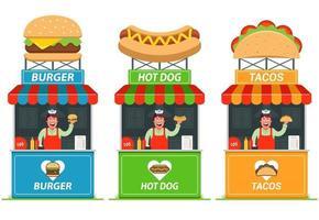 aantal kraampjes met fast food. vrolijke verkoper bij de kiosk. platte vectorillustratie. vector