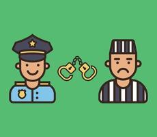 tevreden politieagent en boze gevangene. karakter vector iconen