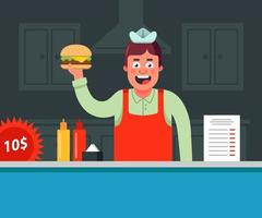 vrolijke verkoper heeft een hamburger bereid en verkoopt deze. platte vectorillustratie van karakters. vector