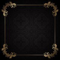 Zwarte en gouden decoratieve achtergrond vector