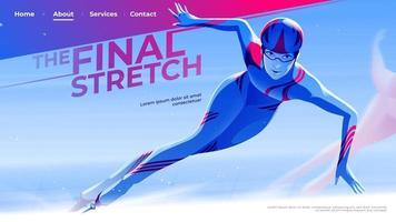 vectorillustratie voor ui of een bestemmingspagina in het schaatsthema van de vrouwelijke skate-atleet die de bocht verlaat naar het laatste stuk. vector