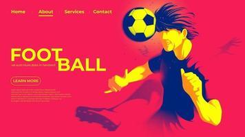 vectorillustratie voor een bestemmingspagina van de voetbal- of voetballer die de bal met het hoofd raakt om een doelpunt te maken. vector