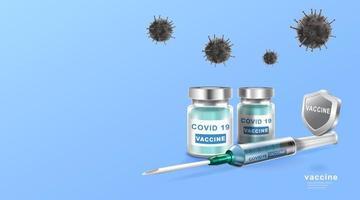 coronavaccin. immunisatiebehandeling. vaccinfles en spuitinjectietool voor covid19. vector illustratie.