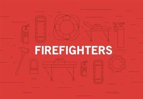 brandweerlieden medische noodsituatie banner vector