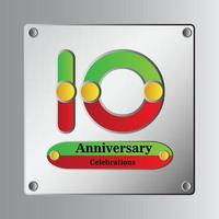 10-jarig jubileum vector sjabloon ontwerp illustratie