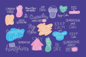 set van creatieve teksten over thuis blijven vector ontwerp