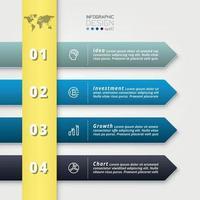 4 stappen om te werken in de vorm van pijltekens die werkprocessen beschrijven of communicatiemedia maken. vector