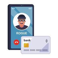 een fraudeur steelt bankkaartgegevens via de telefoon. platte vectorillustratie.