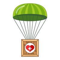 parachute met een doos met humanitaire hulp aan de bevolking. doos vliegt naar beneden. platte vectorillustratie vector
